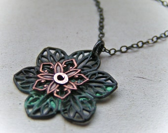 Verdigris Filigree Flower Necklace