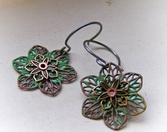 Verdigris Filigree Flower Earrings
