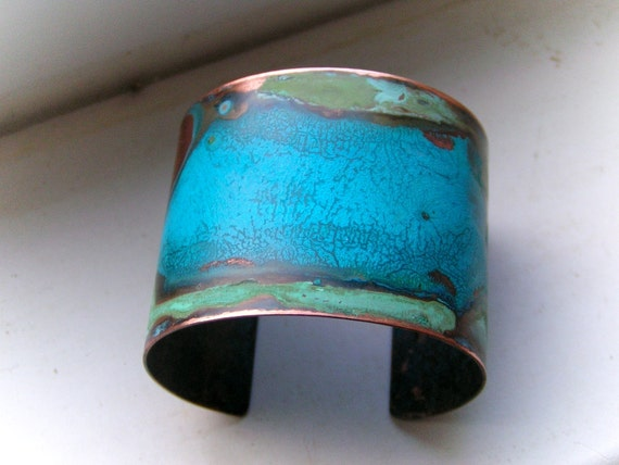 Double Verdigris Mixed Patina Copper Cuff - S/M and M/L available