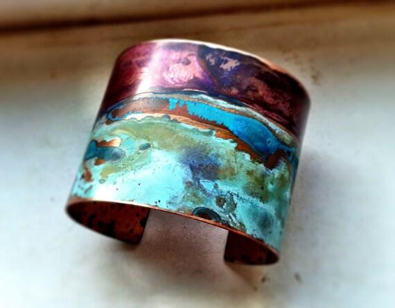 Purple & Verdigris Copper Patina Cuff - SMALL
