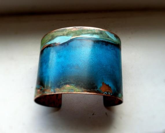 Blue & Green Verdigris Copper Cuff - Small