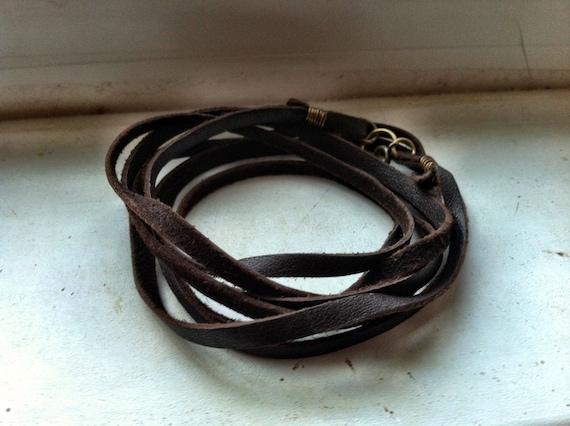 Multi-Wrap Leather Bracelet - Brown