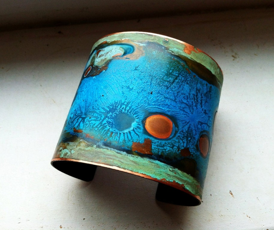 Blue Amp Green Verdigris Copper Patina Cuff Small