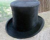 Antique Beaver Felt Top Hat / Vintage Black Headwear