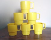 Set of Six Vintage Yellow Stacking Cups / Retro Melmac