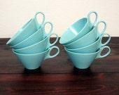 Set of 8 Vintage Melamine Robins Egg Blue Cups / Retro Coffee Cups