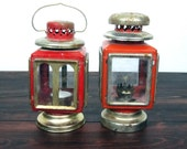 2 Vintage Red Lanterns / Retro Square Glass Panel Lanterns - MidMod