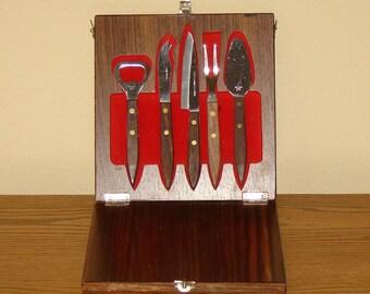 Vintage 1960s Hanging Bar Set / Retro Barware Tool Set
