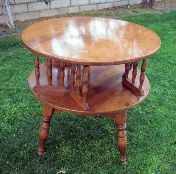 Ethan Allen Trevor Coffee Table: Vintage Baumritter Ethan Allen Rotating Coffee Table / Retro