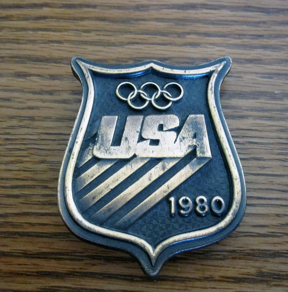 Vintage 1980 USA Olympic Belt Buckle, Retro Brass Team USA Buckle