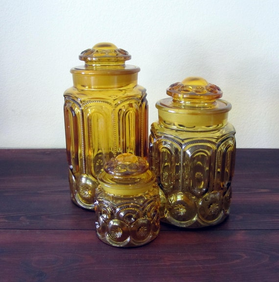 3 Vintage Amber Moon and Stars Glass Canisters / Retro Depression Glass Jars
