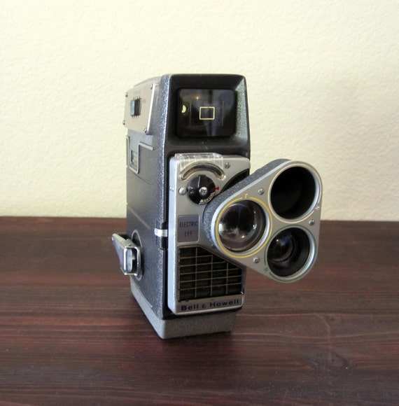 Vintage Bell and Howell 3 Lens 8mm Movie Camera / Retro Home Movie Camera