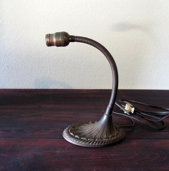 Vintage 1930s Brass Goose Neck Lamp / Art Deco Table Lamp