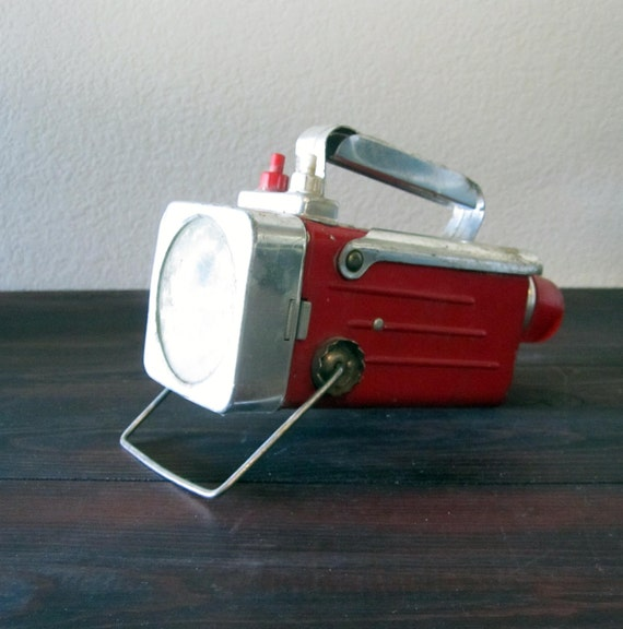 Vintage Red and Chrome Dual Light Flashlight by USA Lite
