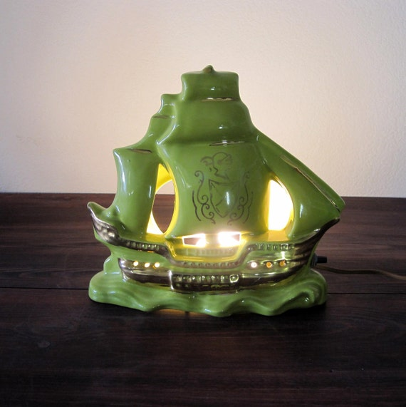 Vintage Green Ship Tv Lamp Retro Nautical Themed Home Decor