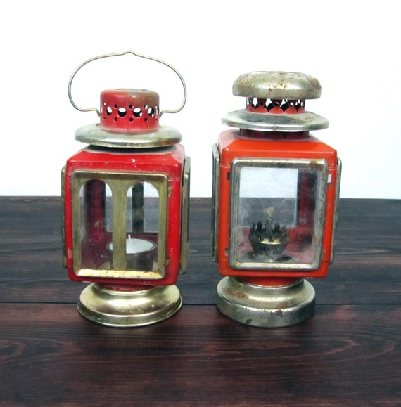 2 Vintage Red Lanterns / Retro Square Glass Panel Lanterns