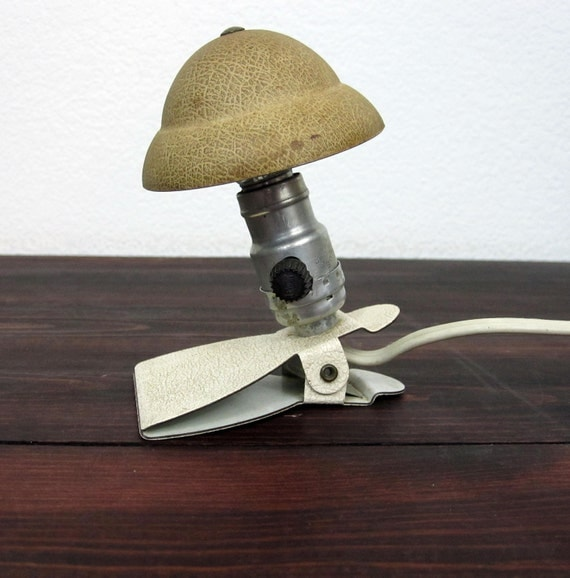 Workbench Lights Vintage: Vintage Small Clip On Work Light / Industrial Chic Light