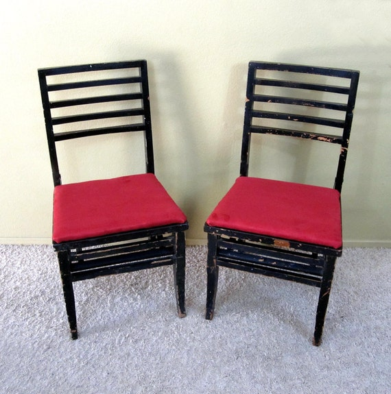 RESERVED for  Cindy L Owens  / 2 Antique Louis Rastetter & Sons Folding Chairs / Newly Recovered Seats