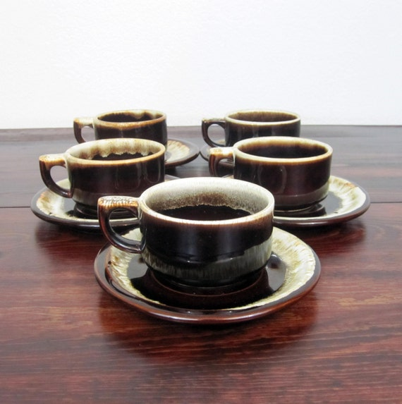 Vintage Stoneware Coffee Cups and Saucers  / Set of 5