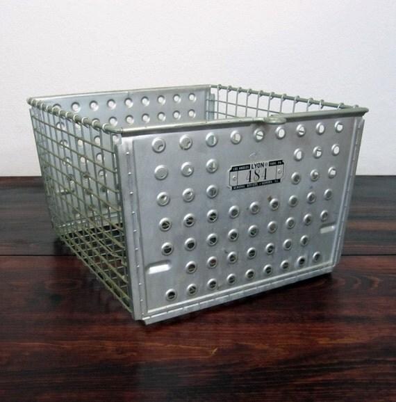 Vintage Metal Locker Basket LAST ONE / Retro Industrial Storage Bin
