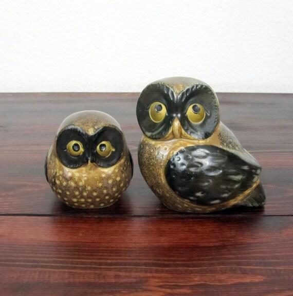 Vintage Set of Plaster Owls / Retro Woodland Home Decor