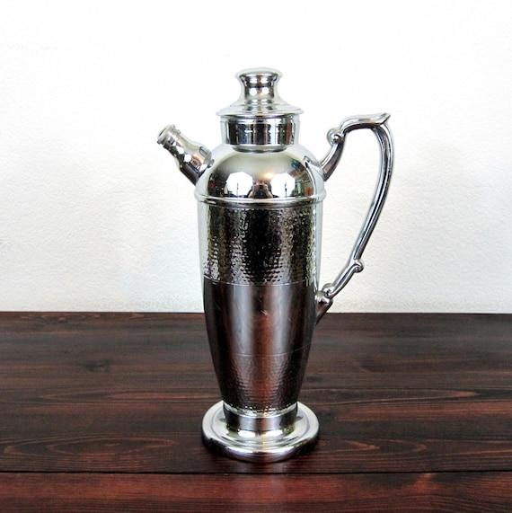 Vintage Art Deco Cocktail Server / Cromwell Silver MFG Corp Chromium