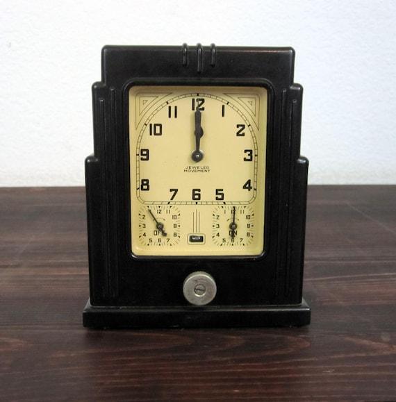 Vintage 1920 Lux Clock Co Oven Timer Antique Art Deco Clock