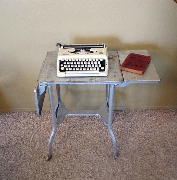 Vintage Aluminum Typing Table / Retro Machine Age Industrial Table