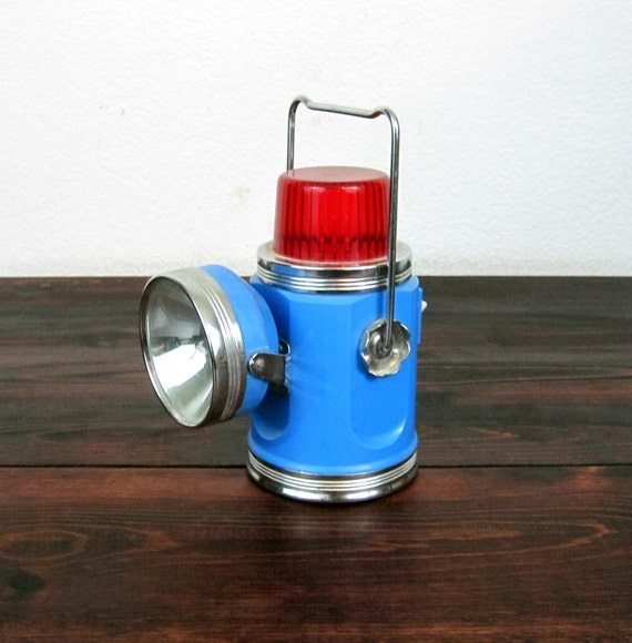 RESERVED for  Tim Benford / Vintage AAA Southern California Flashlight and Signal Lamp / Retro Blue Roadside Lamp