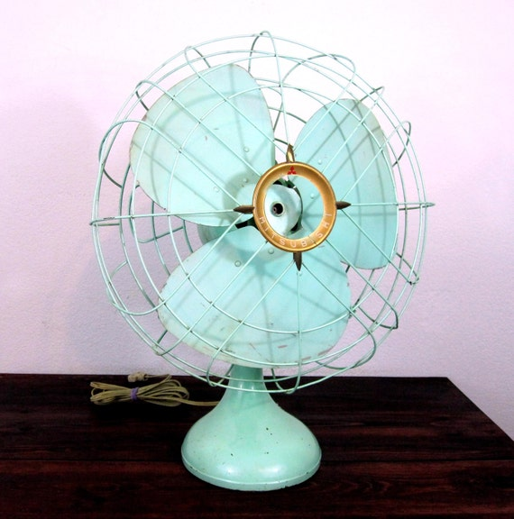 RESERVED for kfasy11 / Vintage Teal Electric Table Fan by Mitsubishi / Mid Century Home Decor