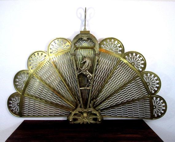 Vintage Brass Unicorn Motif Fireplace Screen