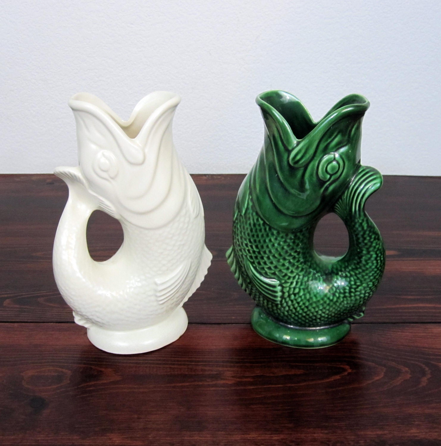 vintage pair of koi fish vases or pitchers retro invento