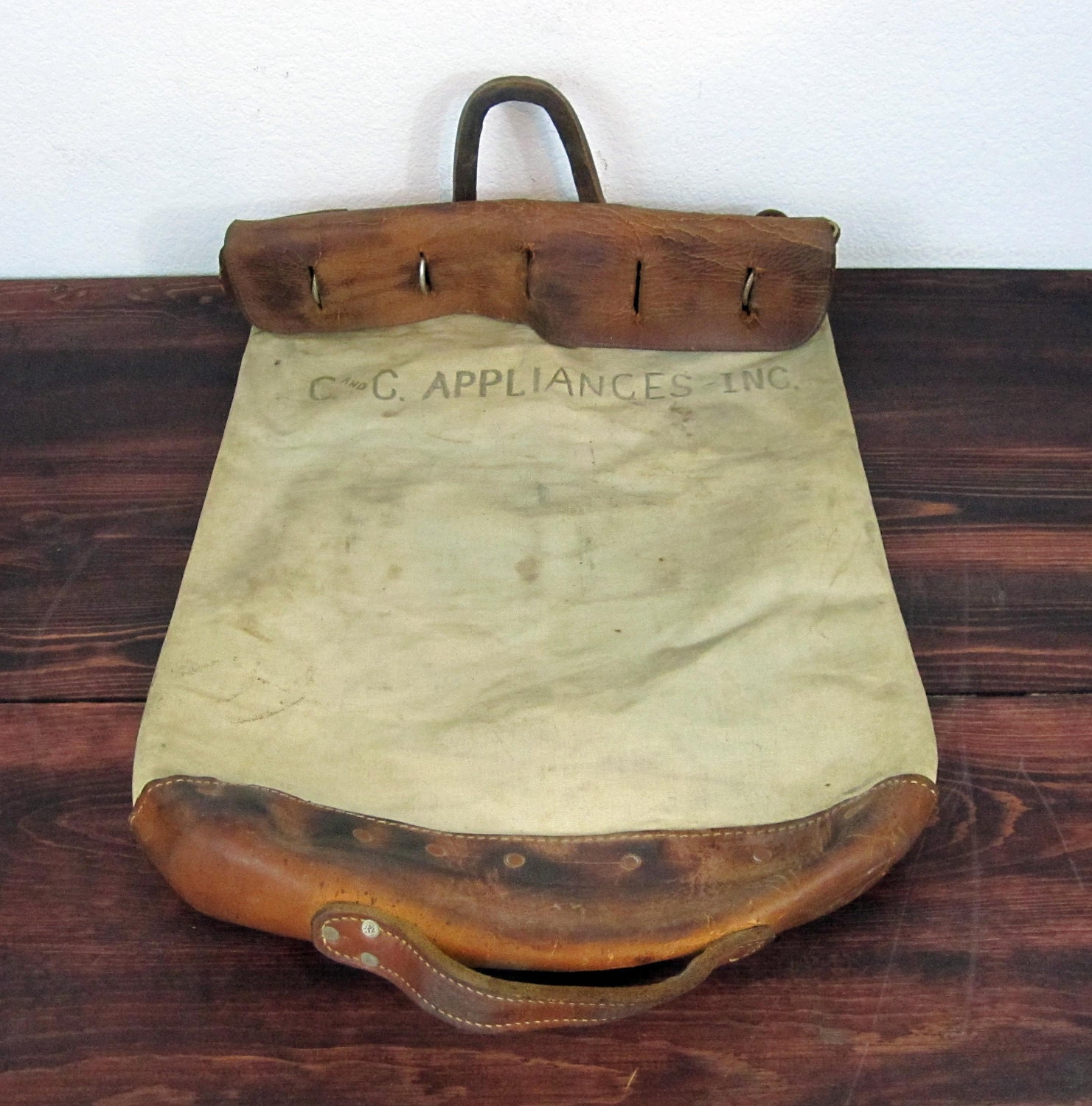 vintage leather and canvas bank deposit security bag. Black Bedroom Furniture Sets. Home Design Ideas