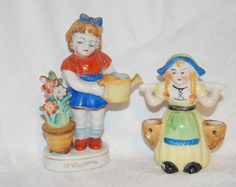 Sweet Dutch Girl and Little Flower Girl Porcelain Figurines, Lot of Two Vintage Collectible Items at Bohemian Angel