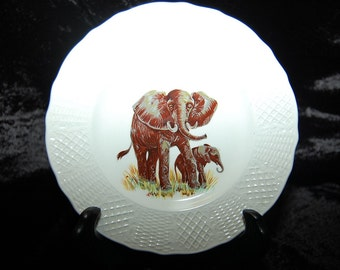 Vintage African Lion and Elephant Old English Fine China Dishes, Lot of Two Fine Collectible Plates at Bohemian Angel