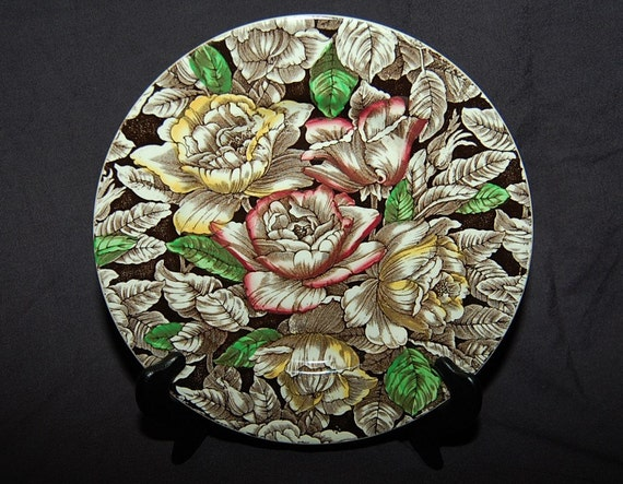 Rare Antique Myott, Son and Company Exotic Bermuda Chintz  Lush Floral Nine Inch Plate from the 1930s at Bohemian Angel