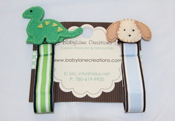 2 Pacifier Clips/Holders - Boys DINOSAUR & PUPPY
