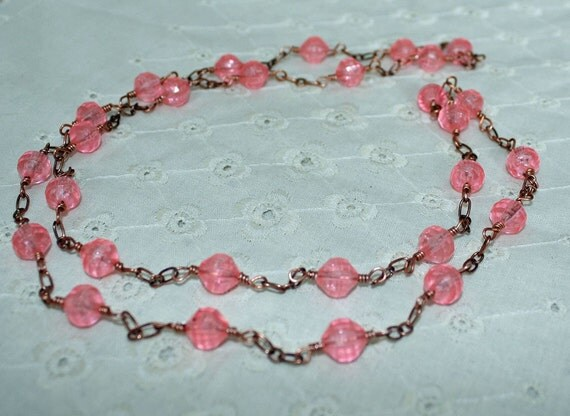FINAL CLEARANCE PRICE Pretty In Pink Copper Station Necklace Made From Vintage Components
