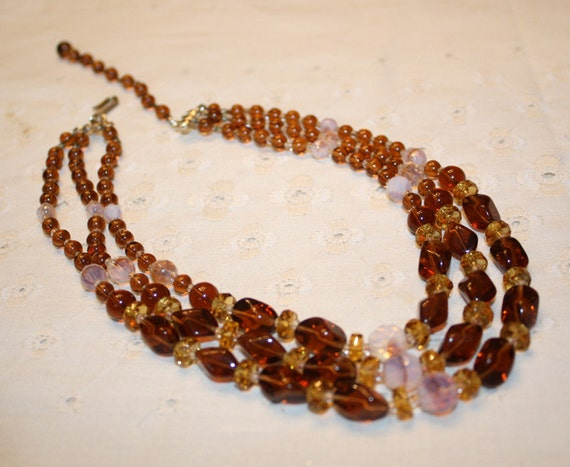 Triple Strand Tones of Amber Necklace