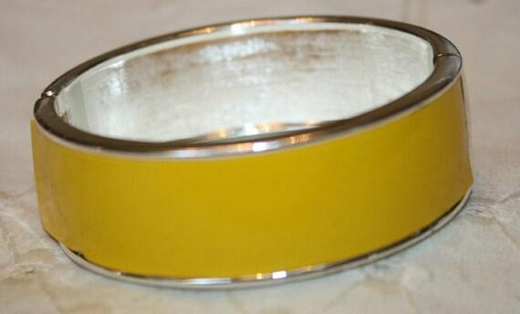 Yellow Enamel Hinged Bangle Bracelet