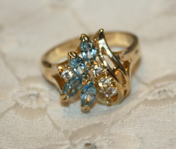 Gold Plated 925 Ring with Clear and Blue Stones