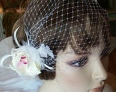 Bridal headpiece bird cage orchid with veil