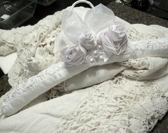 Wedding bridal hanger satin hand worked rosettes