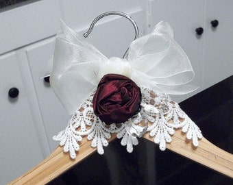 Bridal hanger crystal center wood red rosette lace