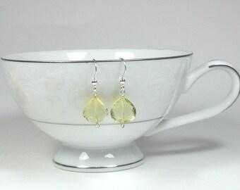 Lemon Quartz Teardrop Earrings - AAA Gemstone Clarity - Stunning