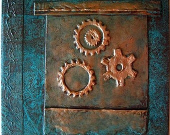 Handmade Journal Antiqued Turquoise Copper Gears Refillable 6x6 Original