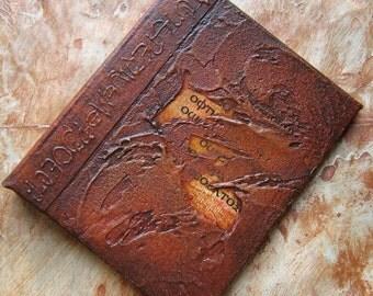 Refillable Journal Brown Copper Textured Text 5x4 Handmade Original
