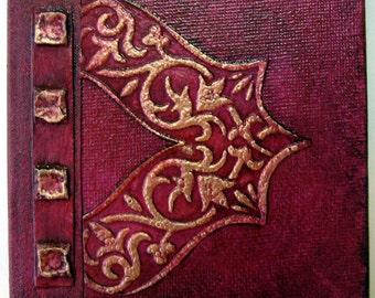 Handmade Journal Cranberry Copper Refillable 4x4 OOAK Original