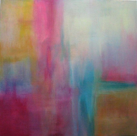 Original Fine Art Abstract Modern Painting Contemporary Acrylic pink blue yellow. Passage I