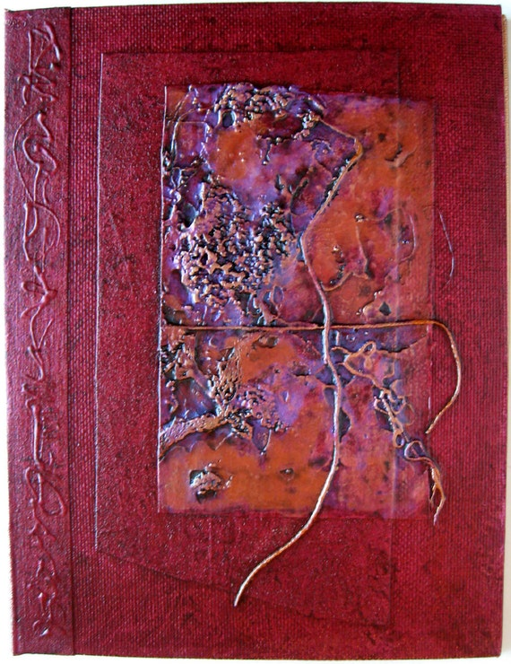 Refillable Handmade Journal Red Copper Texture 8x6 OOAK Original